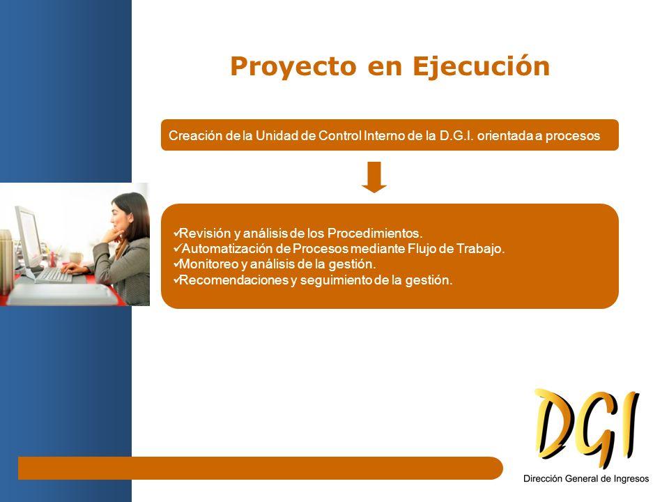 Proyecto en Ejecución Creación de la Unidad de Control Interno de la D.G.I. orientada a procesos Revisión y análisis de los Procedimientos. Automatiza