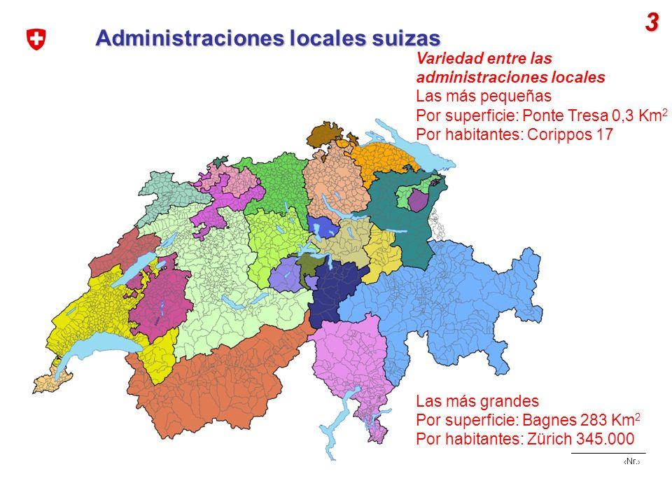 Nr. Cohesión social, cohesión geográfica | EUROsociAL mat, Berlín Abril 2008 Administraciones locales suizas 3 Variedad entre las administraciones loc