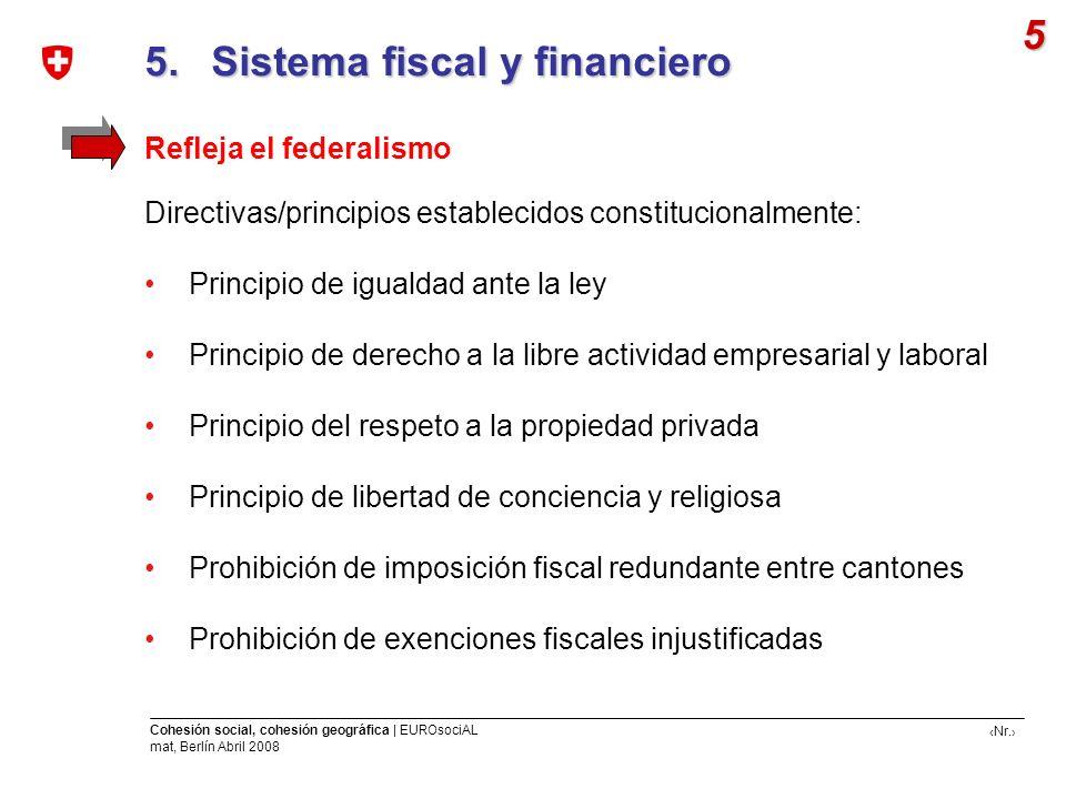 Nr. Cohesión social, cohesión geográfica | EUROsociAL mat, Berlín Abril 2008 5. Sistema fiscal y financiero 5. Sistema fiscal y financiero 5 Refleja e