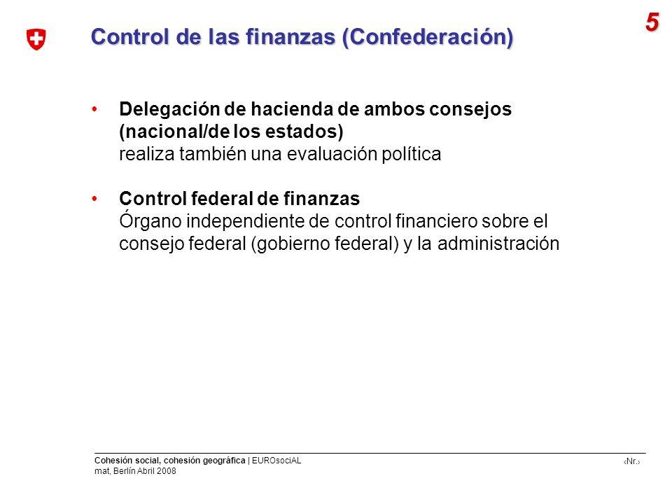 Nr. Cohesión social, cohesión geográfica | EUROsociAL mat, Berlín Abril 2008 Control de las finanzas (Confederación) 5 Delegación de hacienda de ambos