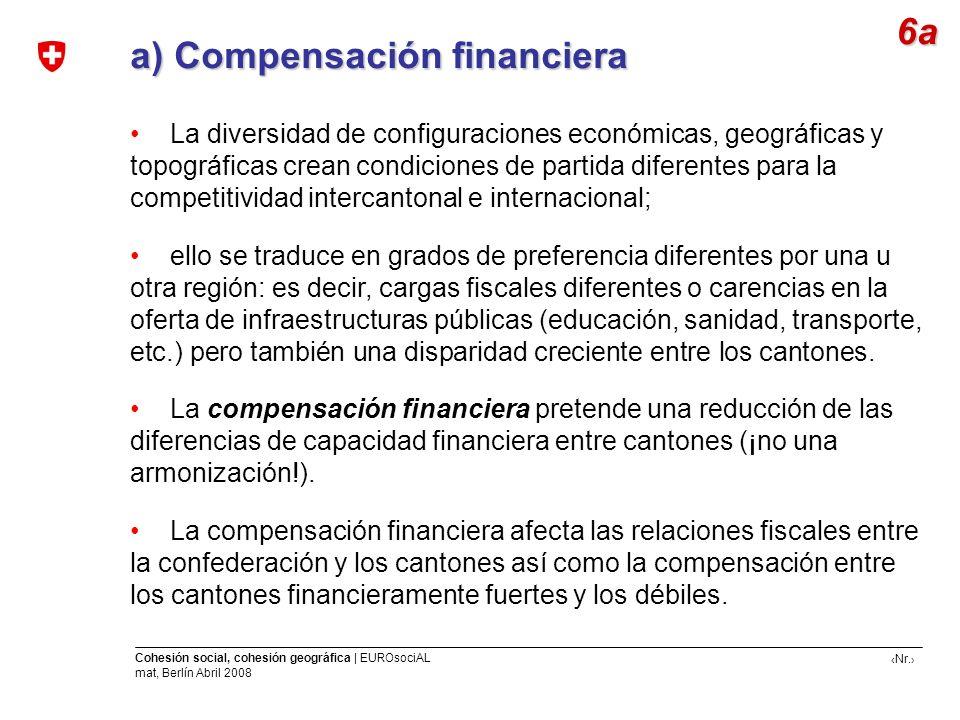 Nr. Cohesión social, cohesión geográfica | EUROsociAL mat, Berlín Abril 2008 a) Compensación financiera a) Compensación financiera 6a La diversidad de