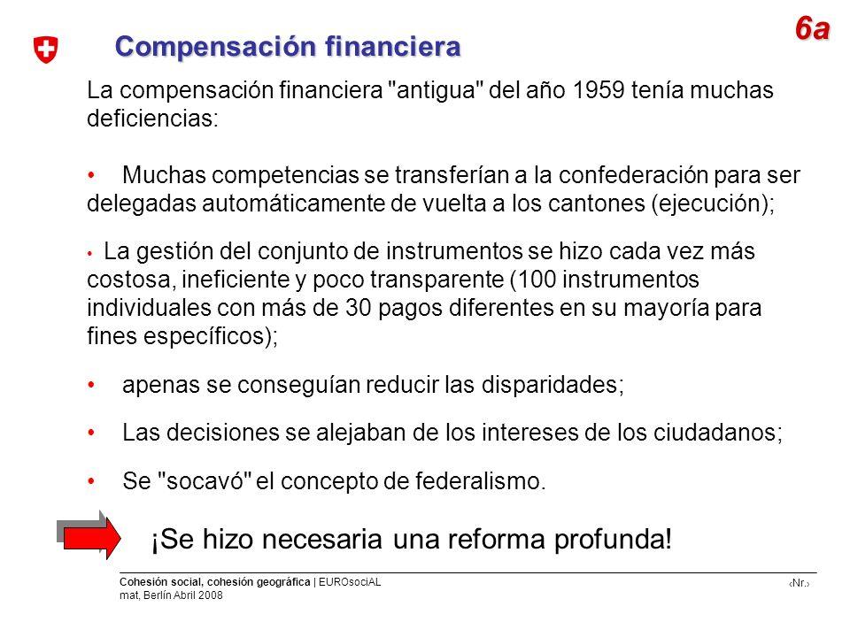 Nr. Cohesión social, cohesión geográfica | EUROsociAL mat, Berlín Abril 2008 Compensación financiera La compensación financiera