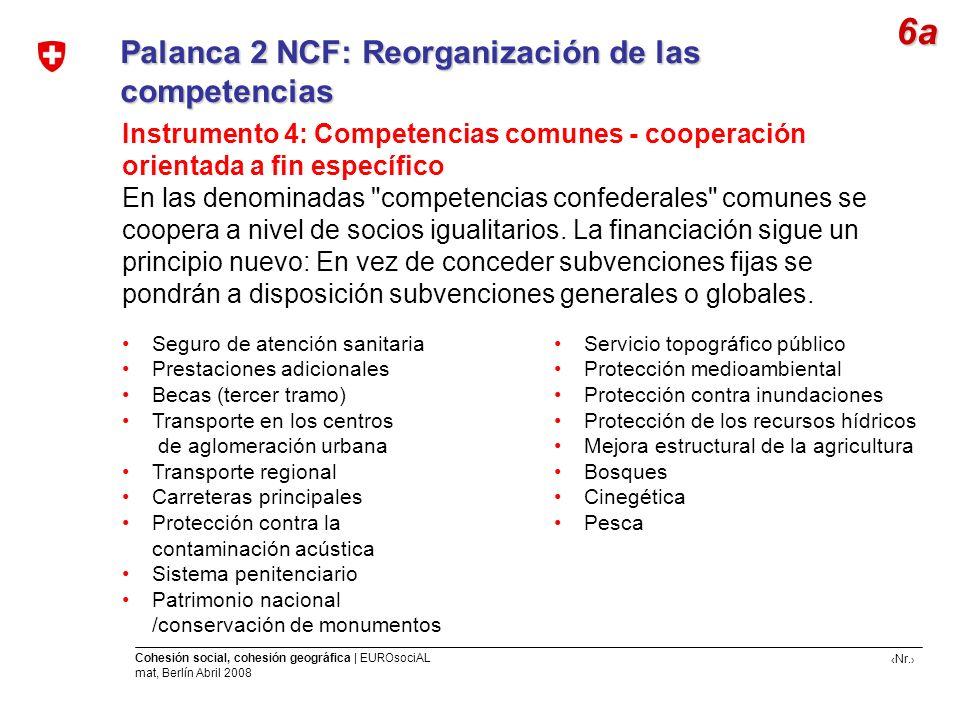 Nr. Cohesión social, cohesión geográfica | EUROsociAL mat, Berlín Abril 2008 Palanca 2 NCF: Reorganización de las competencias Instrumento 4: Competen