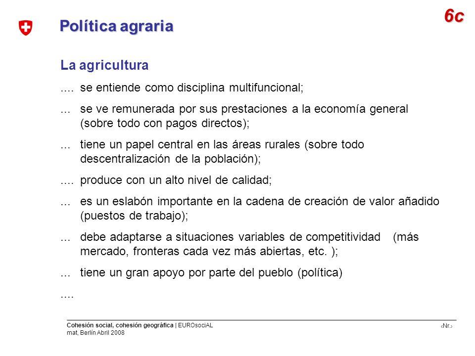Nr. Cohesión social, cohesión geográfica | EUROsociAL mat, Berlín Abril 2008 Política agraria La agricultura.... se entiende como disciplina multifunc
