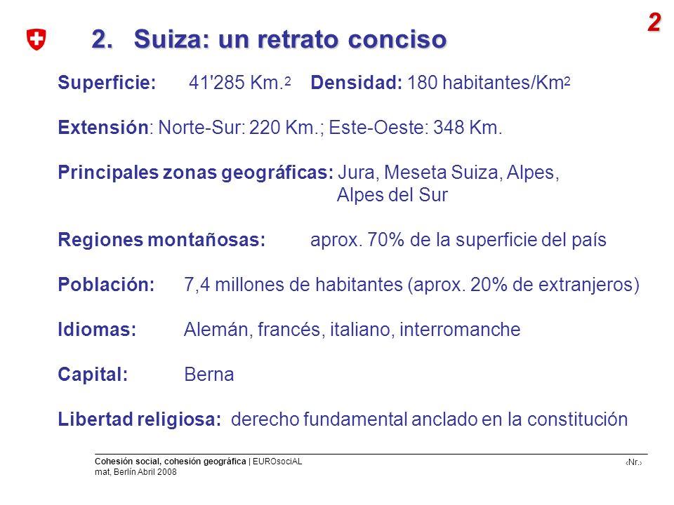 Nr. Cohesión social, cohesión geográfica | EUROsociAL mat, Berlín Abril 2008 2. Suiza: un retrato conciso 2. Suiza: un retrato conciso 2 Superficie: 4