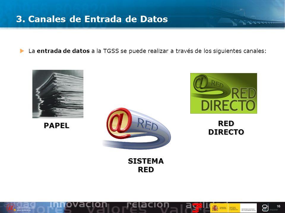 16 3. Canales de Entrada de Datos La entrada de datos a la TGSS se puede realizar a través de los siguientes canales: PAPEL SISTEMA RED RED DIRECTO