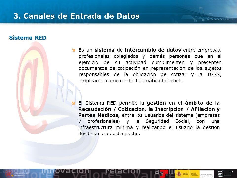 18 3. Canales de Entrada de Datos Sistema RED Es un sistema de intercambio de datos entre empresas, profesionales colegiados y demás personas que en e