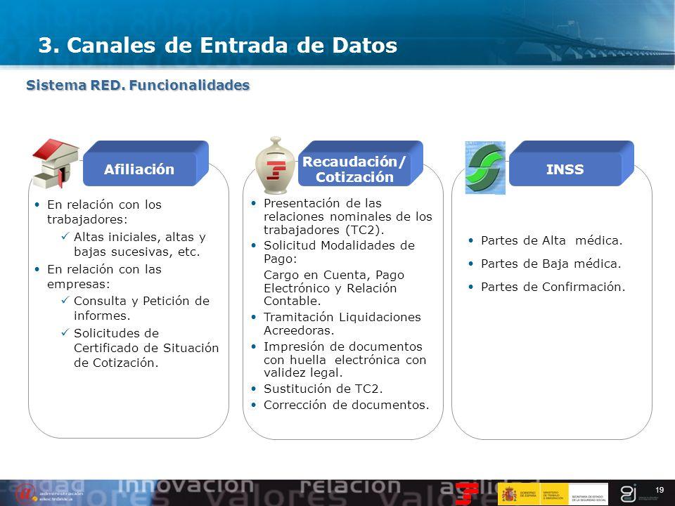 19 Sistema RED. Funcionalidades 3. Canales de Entrada de Datos Afiliación Recaudación/ Cotización INSS En relación con los trabajadores: Altas inicial