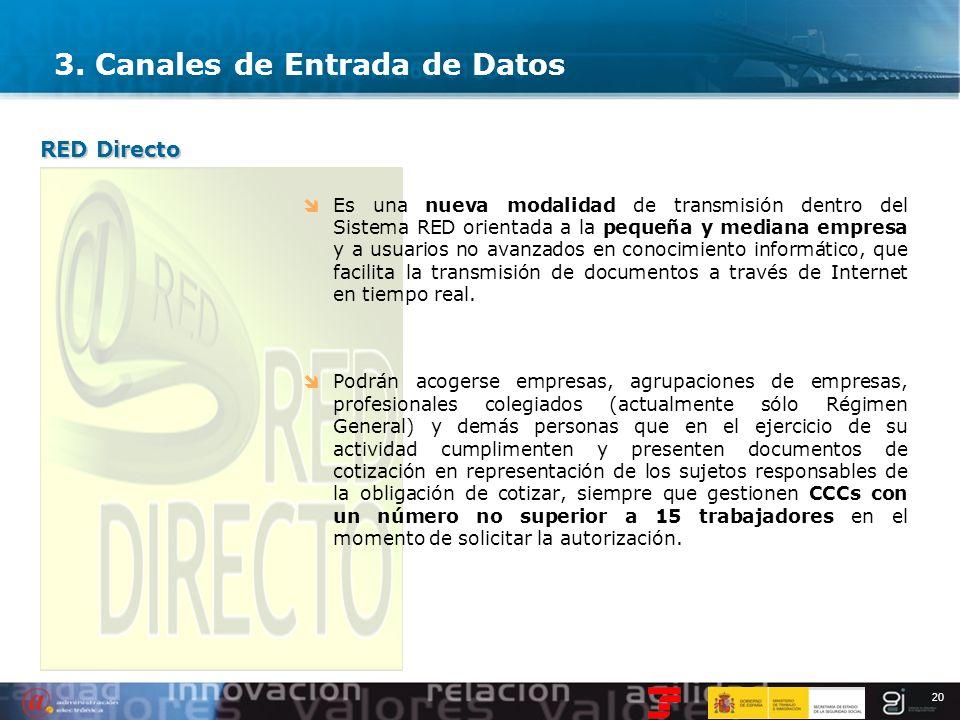 20 3. Canales de Entrada de Datos Es una nueva modalidad de transmisión dentro del Sistema RED orientada a la pequeña y mediana empresa y a usuarios n