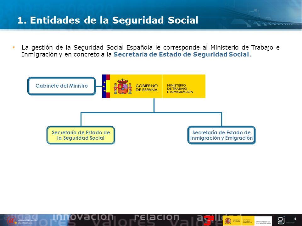 4 La gestión de la Seguridad Social Española le corresponde al Ministerio de Trabajo e Inmigración y en concreto a la Secretar í a de Estado de Seguri
