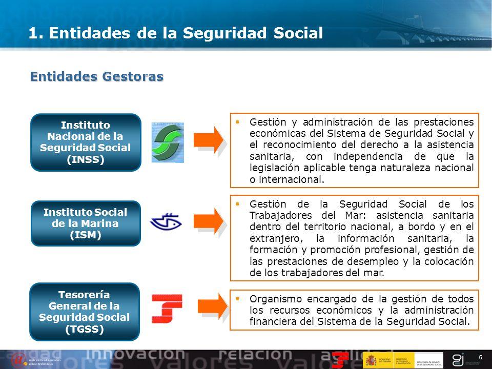 6 Instituto Nacional de la Seguridad Social (INSS) Gestión y administración de las prestaciones económicas del Sistema de Seguridad Social y el recono