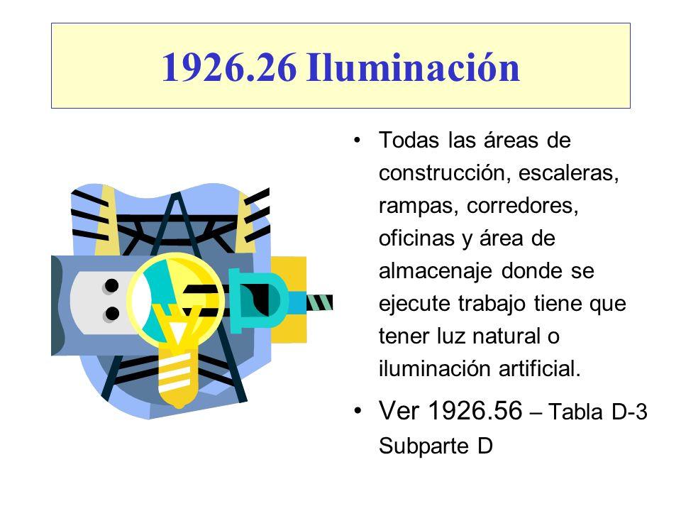 1926.26 Iluminación Todas las áreas de construcción, escaleras, rampas, corredores, oficinas y área de almacenaje donde se ejecute trabajo tiene que t