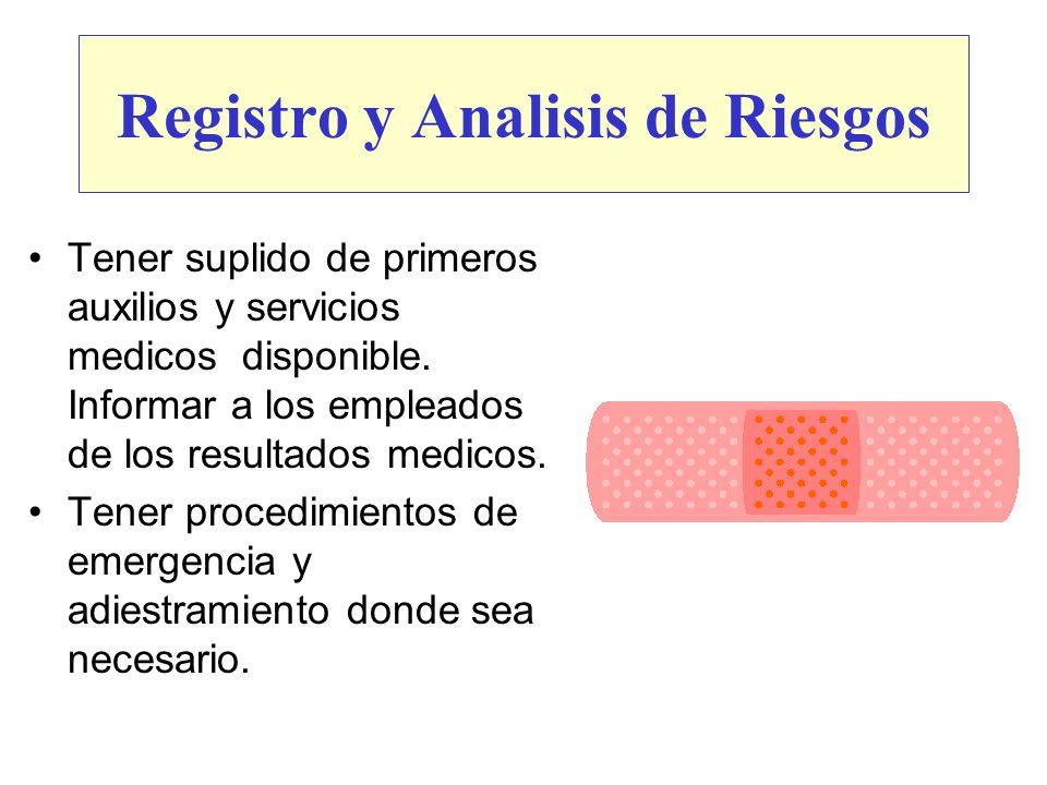 Registro y Analisis de Riesgos Tener suplido de primeros auxilios y servicios medicos disponible. Informar a los empleados de los resultados medicos.