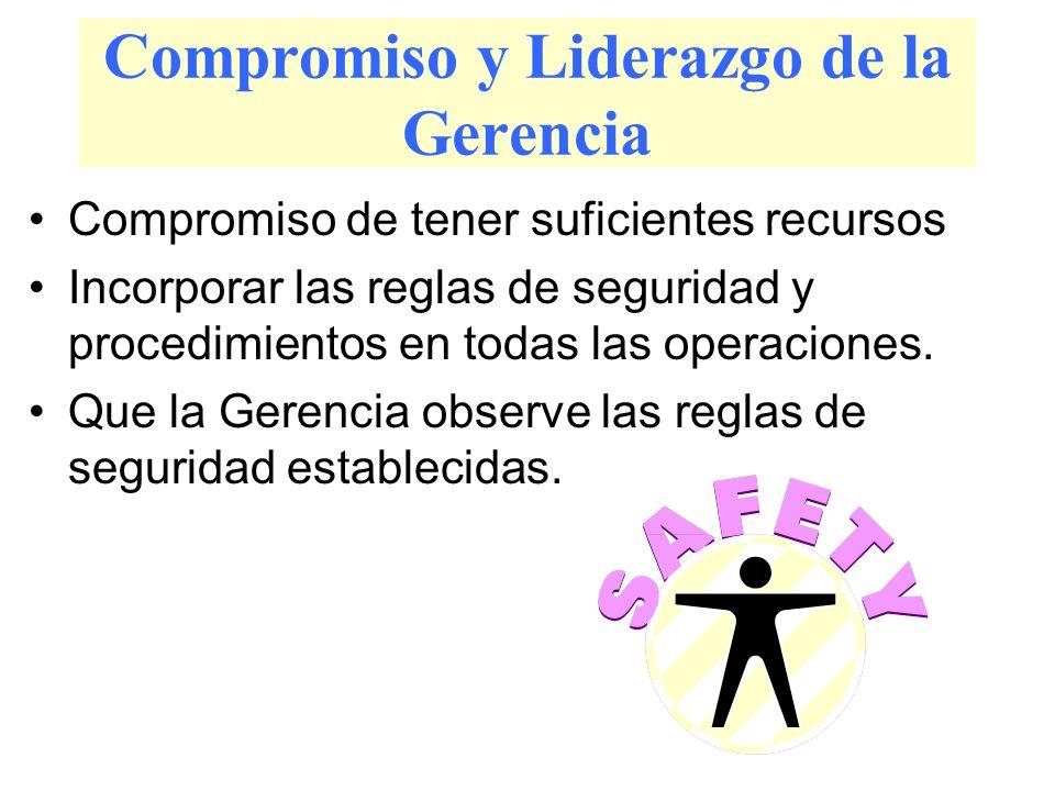 Compromiso y Liderazgo de la Gerencia Compromiso de tener suficientes recursos Incorporar las reglas de seguridad y procedimientos en todas las operac