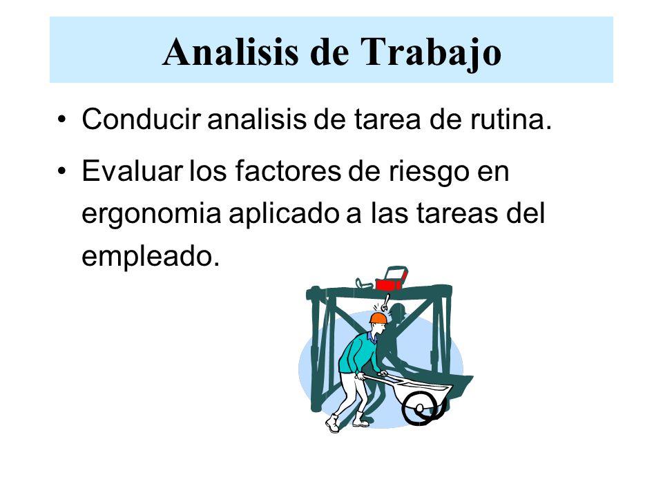 Analisis de Trabajo Conducir analisis de tarea de rutina. Evaluar los factores de riesgo en ergonomia aplicado a las tareas del empleado.
