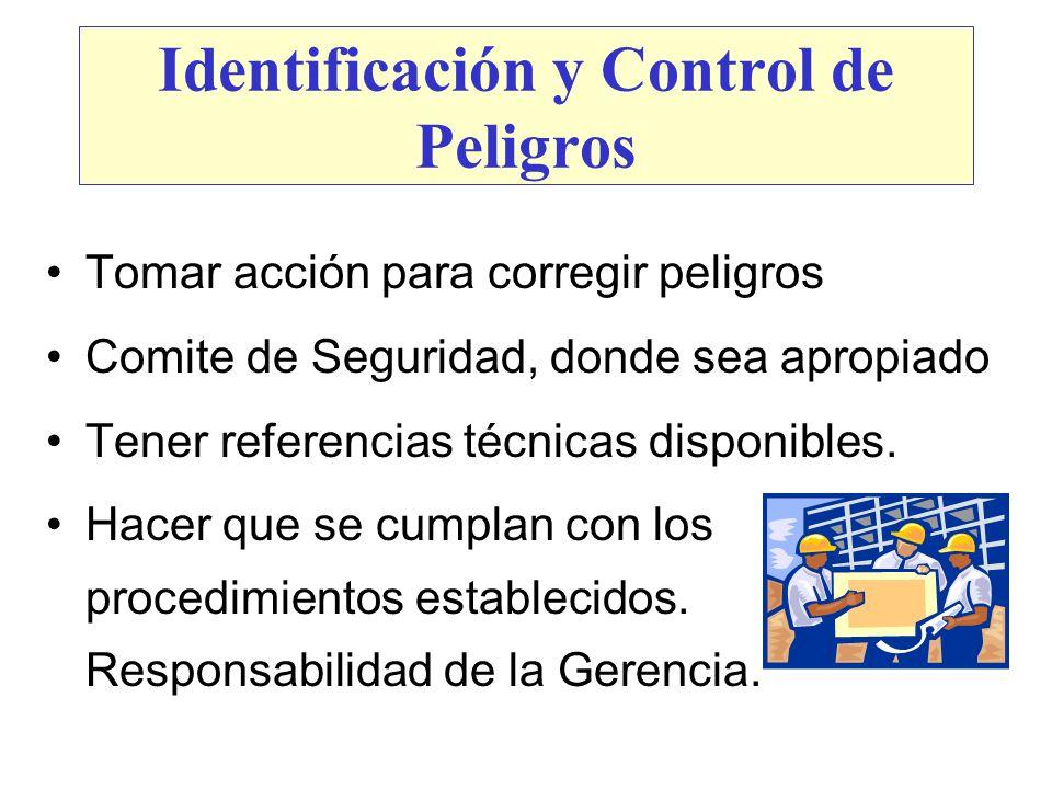 Identificación y Control de Peligros Tomar acción para corregir peligros Comite de Seguridad, donde sea apropiado Tener referencias técnicas disponibl