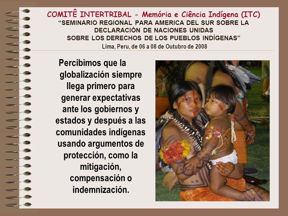 COMITÊ INTERTRIBAL - Memória e Ciência Indígena (ITC) SEMINARIO REGIONAL PARA AMERICA DEL SUR SOBRE LA DECLARACIÓN DE NACIONES UNIDAS SOBRE LOS DERECHOS DE LOS PUEBLOS INDÍGENAS Lima, Peru, de 06 a 08 de Outubro de 2008 Percibimos que la globalización siempre llega primero para generar expectativas ante los gobiernos y estados y después a las comunidades indígenas usando argumentos de protección, como la mitigación, compensación o indemnización.