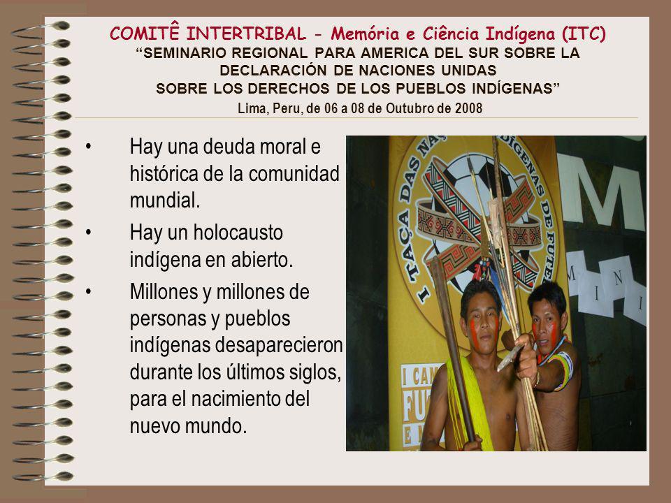 COMITÊ INTERTRIBAL - Memória e Ciência Indígena (ITC) SEMINARIO REGIONAL PARA AMERICA DEL SUR SOBRE LA DECLARACIÓN DE NACIONES UNIDAS SOBRE LOS DERECHOS DE LOS PUEBLOS INDÍGENAS Lima, Peru, de 06 a 08 de Outubro de 2008 Hay una deuda moral e histórica de la comunidad mundial.