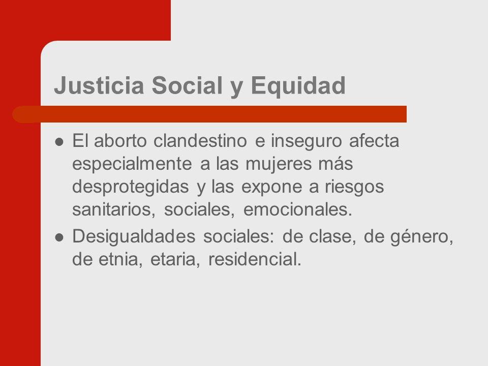 Justicia Social y Equidad El aborto clandestino e inseguro afecta especialmente a las mujeres más desprotegidas y las expone a riesgos sanitarios, sociales, emocionales.