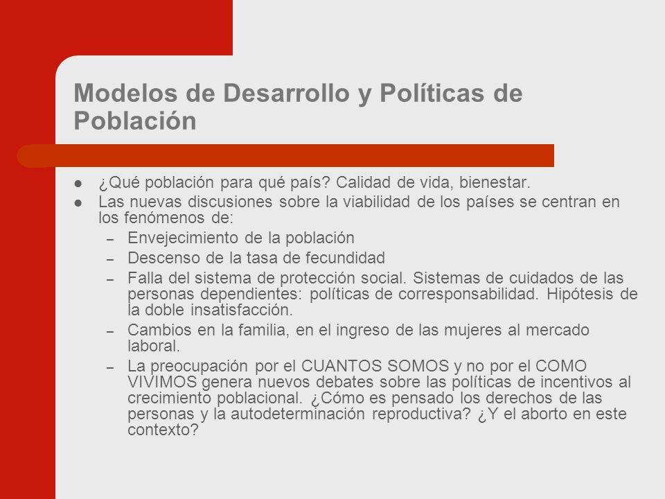 Modelos de Desarrollo y Políticas de Población ¿Qué población para qué país.