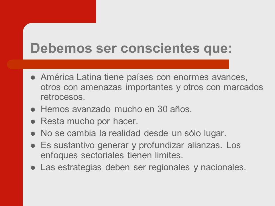 Debemos ser conscientes que: América Latina tiene países con enormes avances, otros con amenazas importantes y otros con marcados retrocesos.