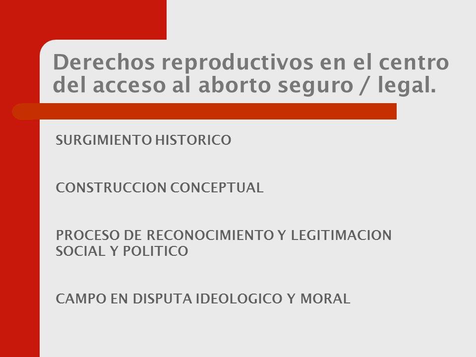 Derechos reproductivos en el centro del acceso al aborto seguro / legal.