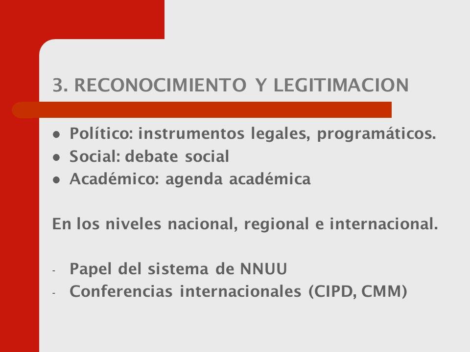 3. RECONOCIMIENTO Y LEGITIMACION Político: instrumentos legales, programáticos.