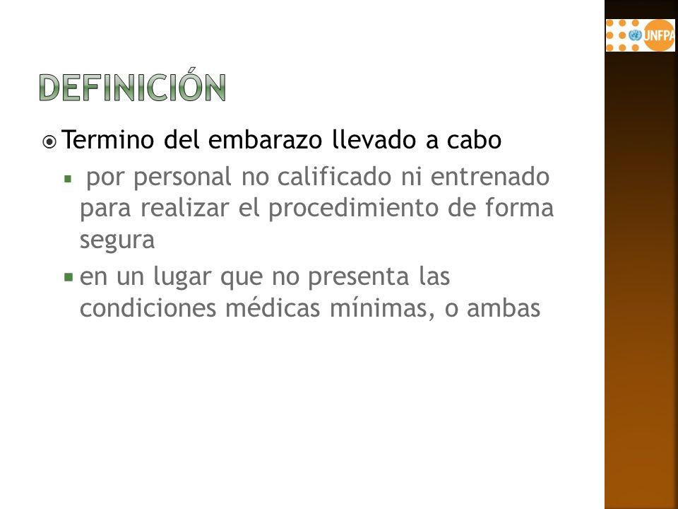 Termino del embarazo llevado a cabo por personal no calificado ni entrenado para realizar el procedimiento de forma segura en un lugar que no presenta las condiciones médicas mínimas, o ambas