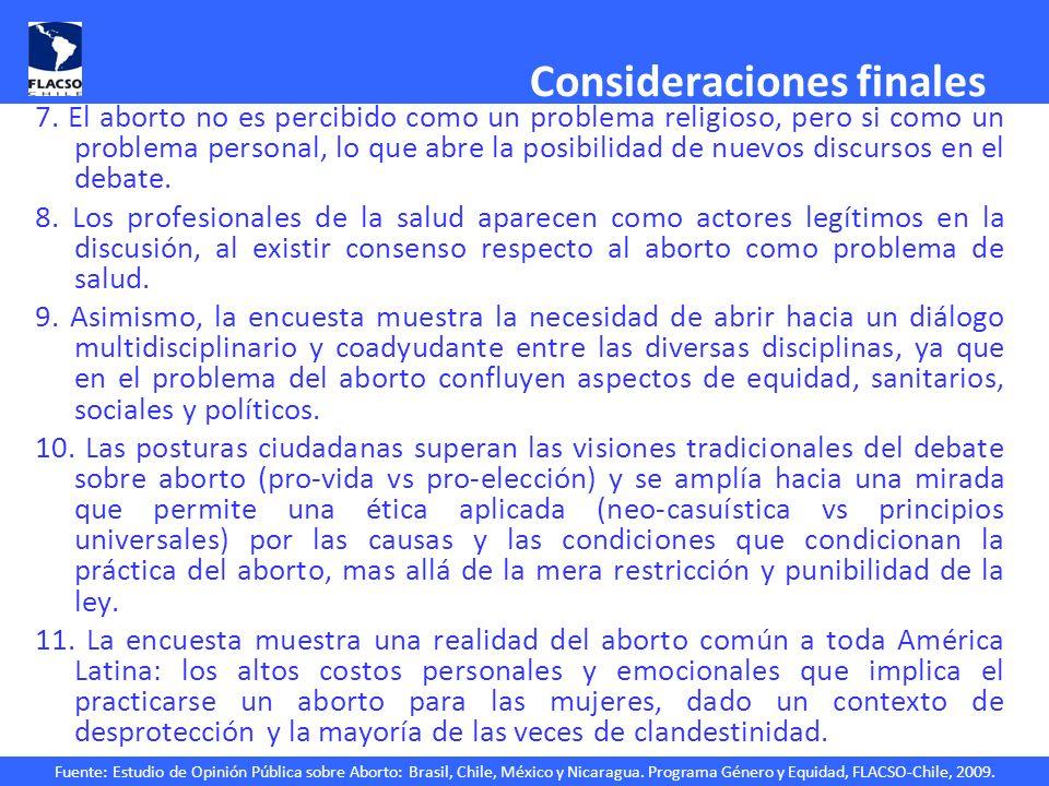 Fuente: Estudio de Opinión Pública sobre Aborto: Brasil, Chile, México y Nicaragua. Programa Género y Equidad, FLACSO-Chile, 2009. Consideraciones fin