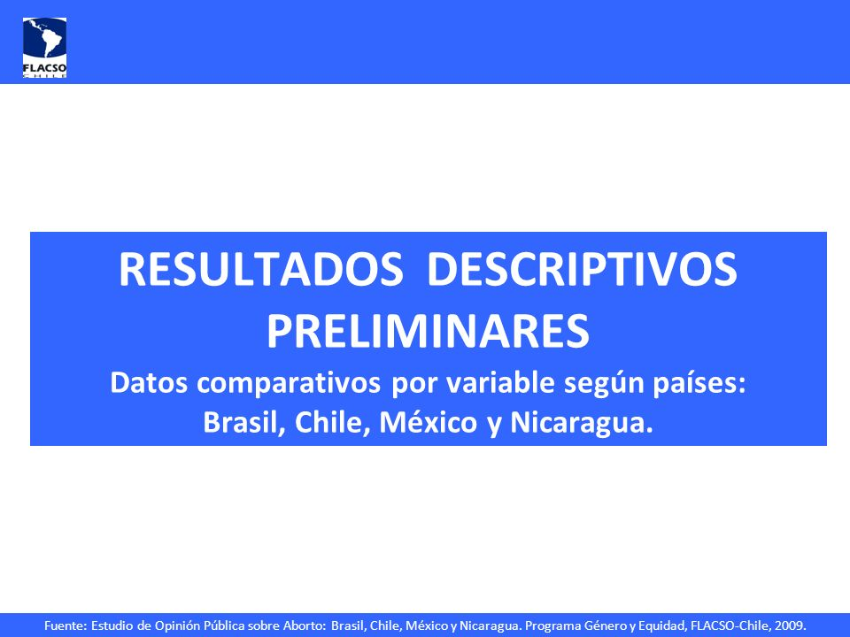 Fuente: Estudio de Opinión Pública sobre Aborto: Brasil, Chile, México y Nicaragua. Programa Género y Equidad, FLACSO-Chile, 2009. RESULTADOS DESCRIPT