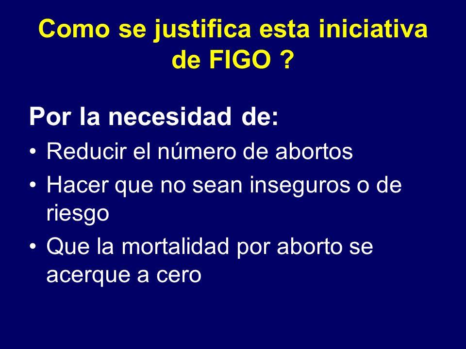 Como se justifica esta iniciativa de FIGO ? Por la necesidad de: Reducir el número de abortos Hacer que no sean inseguros o de riesgo Que la mortalida