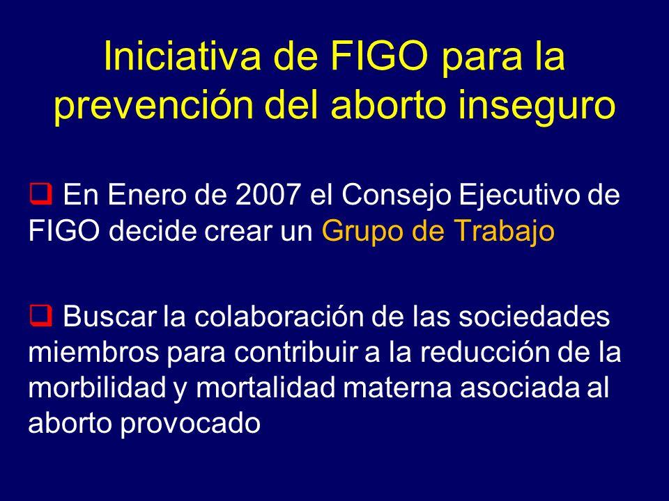 Iniciativa de FIGO para la prevención del aborto inseguro En Enero de 2007 el Consejo Ejecutivo de FIGO decide crear un Grupo de Trabajo Buscar la col