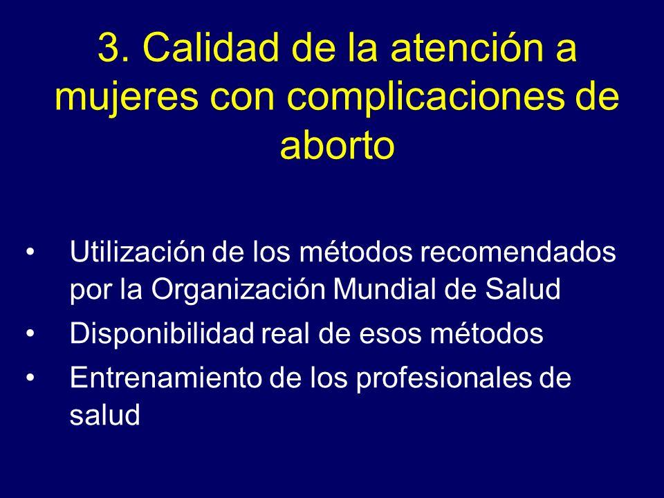 3. Calidad de la atención a mujeres con complicaciones de aborto Utilización de los métodos recomendados por la Organización Mundial de Salud Disponib