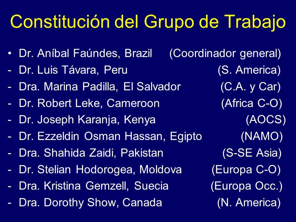 Constitución del Grupo de Trabajo Dr. Aníbal Faúndes, Brazil (Coordinador general) -Dr. Luis Távara, Peru (S. America) -Dra. Marina Padilla, El Salvad