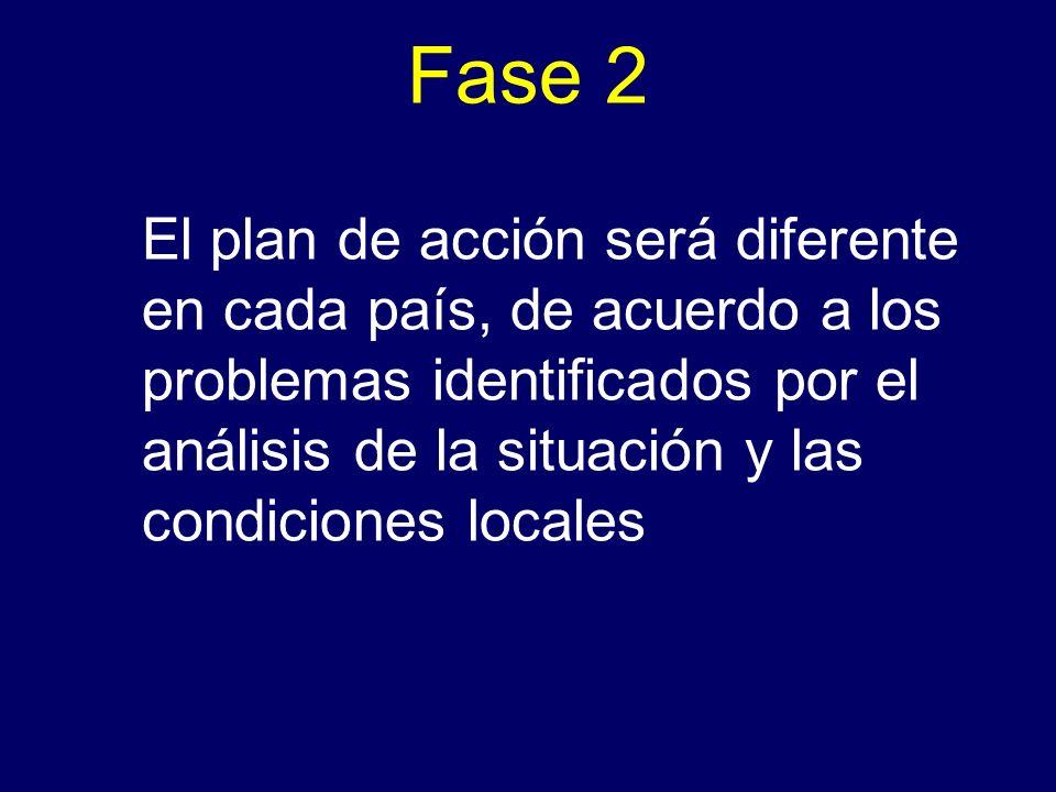 Fase 2 El plan de acción será diferente en cada país, de acuerdo a los problemas identificados por el análisis de la situación y las condiciones local