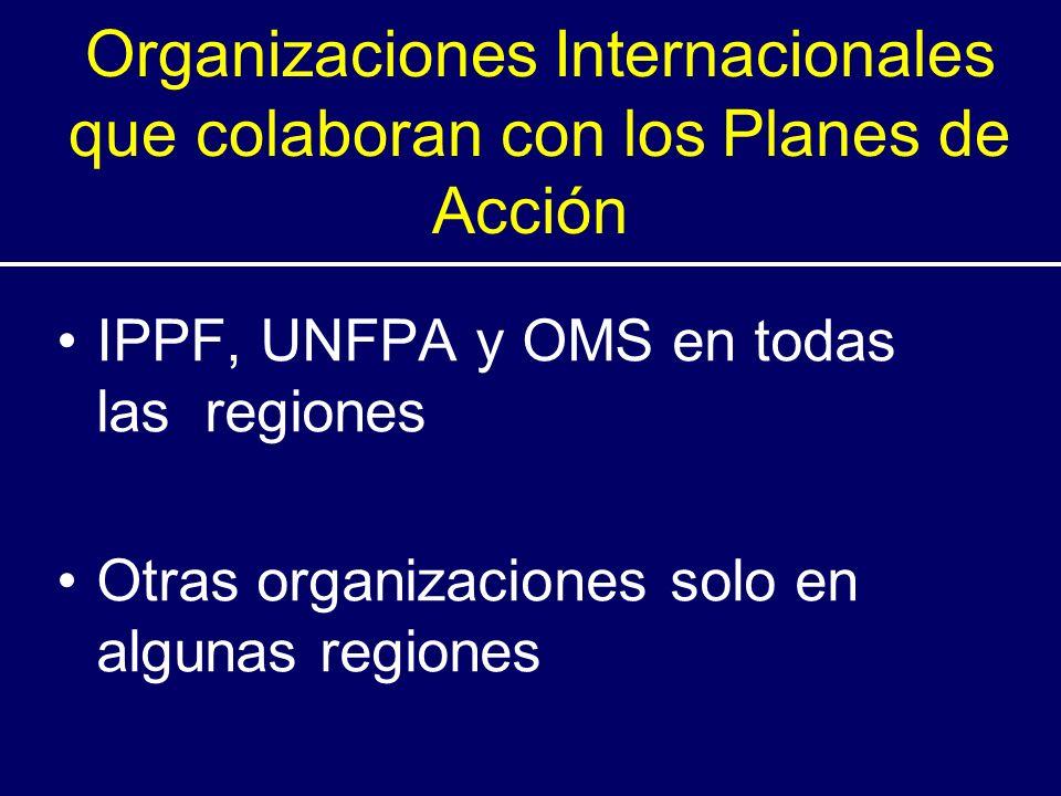 Organizaciones Internacionales que colaboran con los Planes de Acción IPPF, UNFPA y OMS en todas las regiones Otras organizaciones solo en algunas reg
