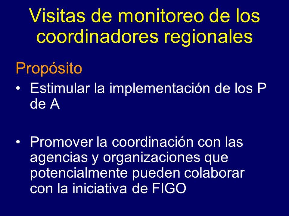 Visitas de monitoreo de los coordinadores regionales Propósito Estimular la implementación de los P de A Promover la coordinación con las agencias y o