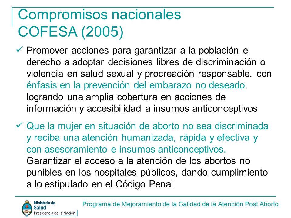 Compromisos nacionales COFESA (2005) Promover acciones para garantizar a la población el derecho a adoptar decisiones libres de discriminación o viole