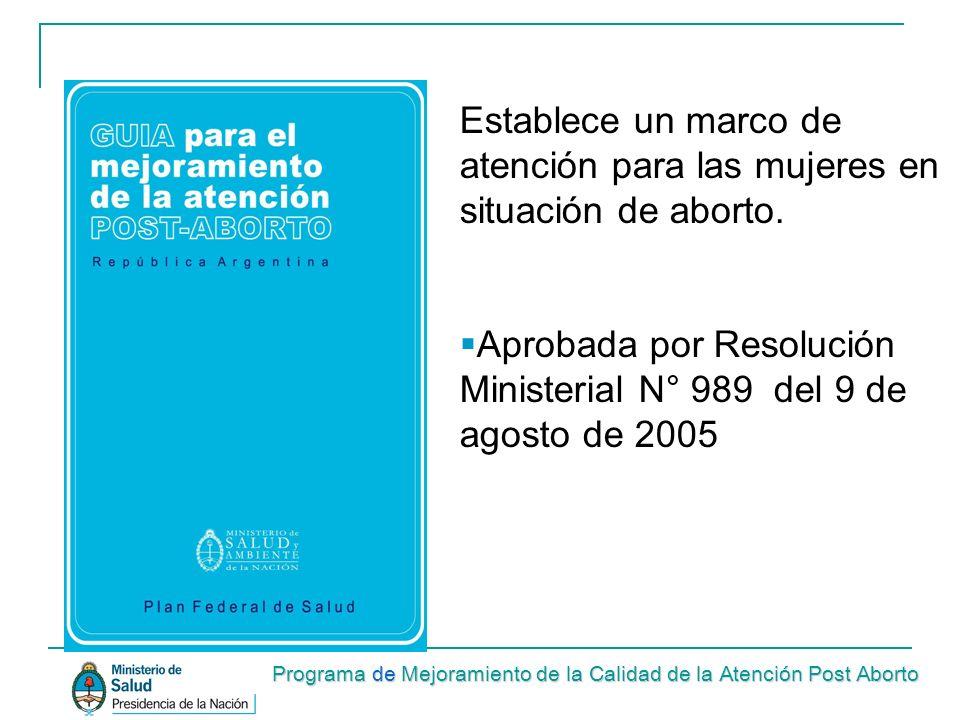 Establece un marco de atención para las mujeres en situación de aborto. Aprobada por Resolución Ministerial N° 989 del 9 de agosto de 2005 Programa de