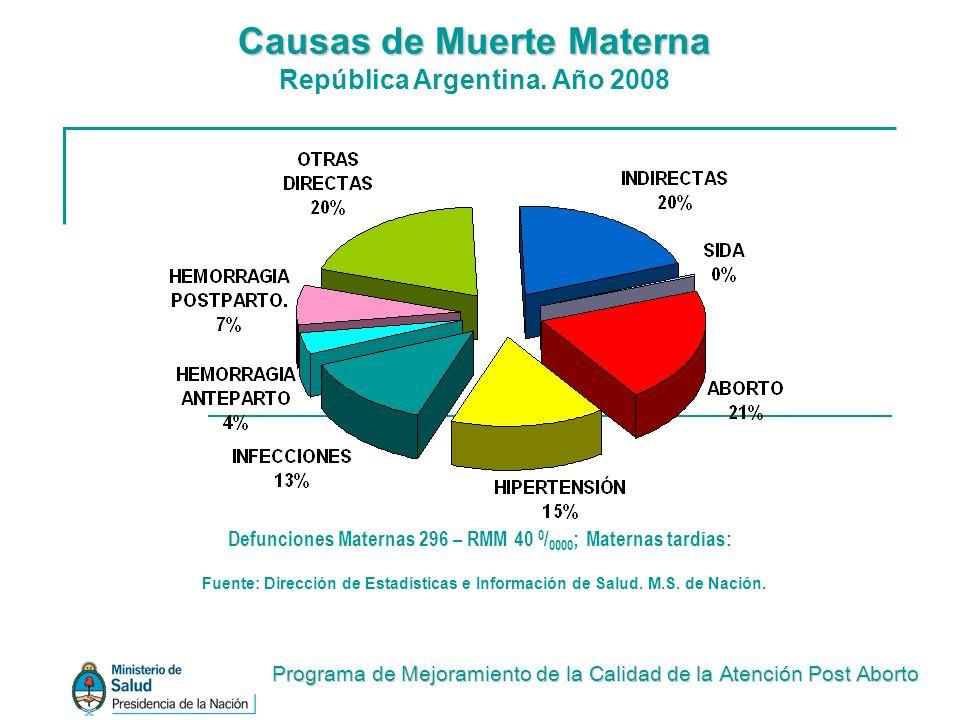 Fuente: Dirección de Estadísticas e Información de Salud. M.S. de Nación. Defunciones Maternas 296 – RMM 40 0 / 0000 ; Maternas tardías: Causas de Mue