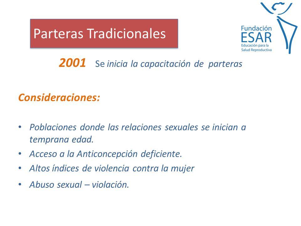 2001 Se inicia la capacitación de parteras Consideraciones: Poblaciones donde las relaciones sexuales se inician a temprana edad.