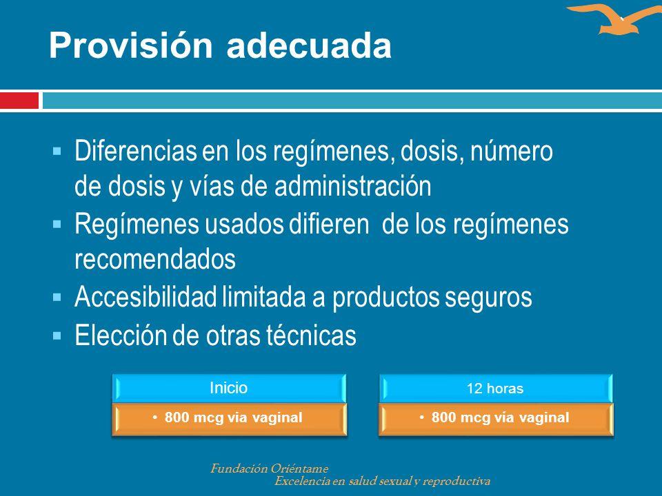 Diferencias en los regímenes, dosis, número de dosis y vías de administración Regímenes usados difieren de los regímenes recomendados Accesibilidad li