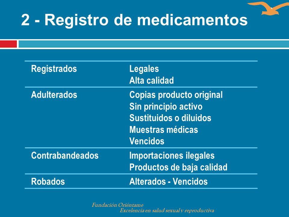 2 - Registro de medicamentos Fundación Oriéntame Excelencia en salud sexual y reproductiva RegistradosLegales Alta calidad AdulteradosCopias producto