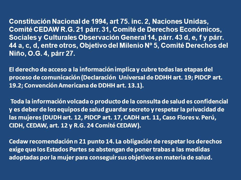 Constitución Nacional de 1994, art 75. inc. 2, Naciones Unidas, Comité CEDAW R.G.