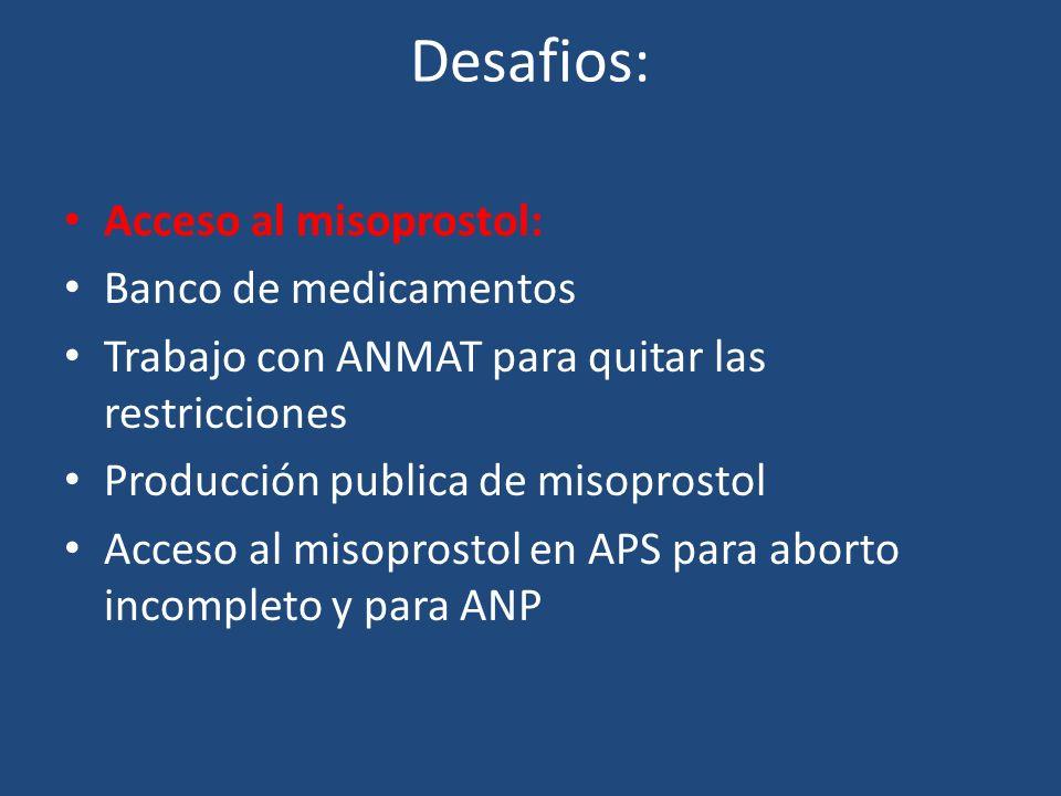 Desafios: Acceso al misoprostol: Banco de medicamentos Trabajo con ANMAT para quitar las restricciones Producción publica de misoprostol Acceso al misoprostol en APS para aborto incompleto y para ANP Aborto en el segundo tr