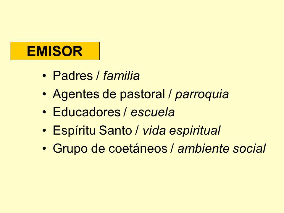 EMISOR Padres / familia Agentes de pastoral / parroquia Educadores / escuela Espíritu Santo / vida espiritual Grupo de coetáneos / ambiente social