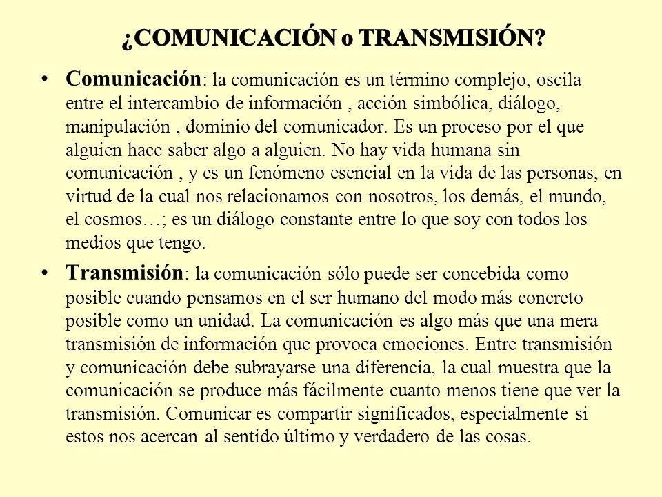 Comunicación : la comunicación es un término complejo, oscila entre el intercambio de información, acción simbólica, diálogo, manipulación, dominio del comunicador.