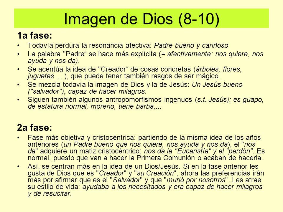 Imagen de Dios (8-10) 1a fase: Todavía perdura la resonancia afectiva: Padre bueno y cariñoso La palabra Padre se hace más explícita (= afectivamente: nos quiere, nos ayuda y nos da).