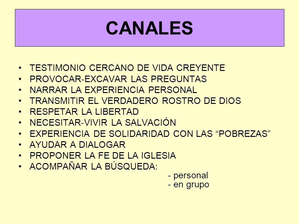 CANALES TESTIMONIO CERCANO DE VIDA CREYENTE PROVOCAR-EXCAVAR LAS PREGUNTAS NARRAR LA EXPERIENCIA PERSONAL TRANSMITIR EL VERDADERO ROSTRO DE DIOS RESPETAR LA LIBERTAD NECESITAR-VIVIR LA SALVACIÓN EXPERIENCIA DE SOLIDARIDAD CON LAS POBREZAS AYUDAR A DIALOGAR PROPONER LA FE DE LA IGLESIA ACOMPAÑAR LA BÚSQUEDA: - personal - en grupo