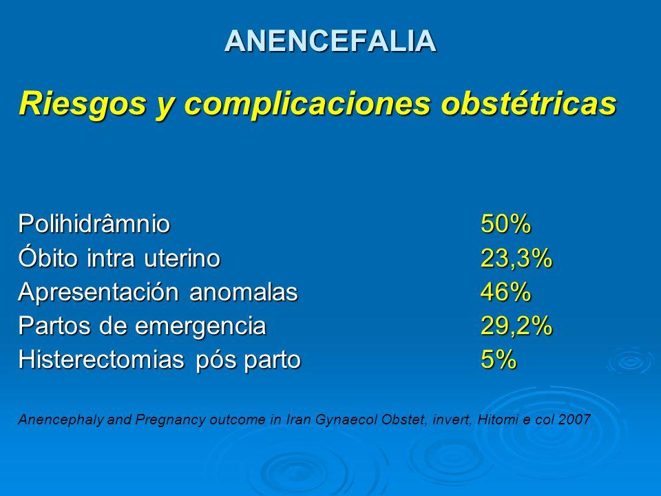 ANENCEFALIA Riesgos y complicaciones obstétricas Polihidrâmnio 50% Óbito intra uterino23,3% Apresentación anomalas46% Partos de emergencia29,2% Hister